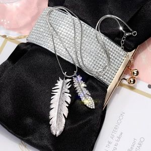 Silver Tone Feather Long Necklaces